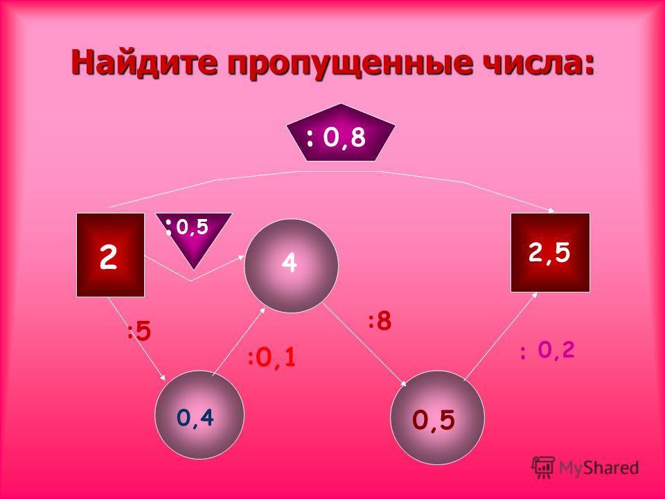 Найдите пропущенные числа: 2 : : :5 :0,1 :8 : 0,2 0,4 4 0,5 2,5 0,5 0,8