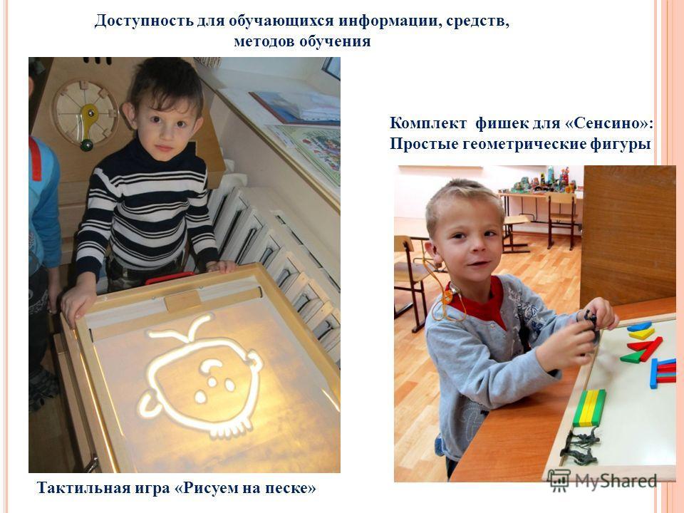 Доступность для обучающихся информации, средств, методов обучения Тактильная игра «Рисуем на песке» Комплект фишек для «Сенсино»: Простые геометрические фигуры
