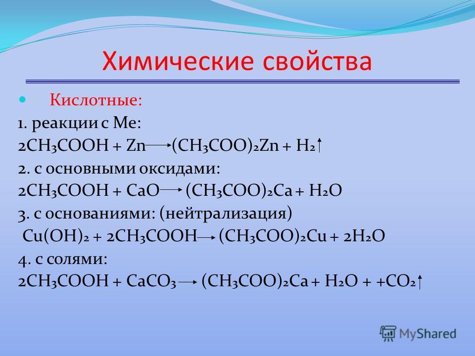 Химические свойства Кислотные: 1. реакции с Ме: 2СН 3 СООН + Zn (CН 3 СОО) 2 Zn + Н 2 2. с основными оксидами: 2СН 3 СООН + СаО (СН 3 СОО) 2 Са + Н 2 О 3. с основаниями: (нейтрализация) Cu(OH) 2 + 2CH 3 COOH (CH 3 COO) 2 Cu + 2H 2 O 4. с солями: 2СН