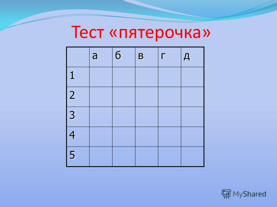 Тест «пятерочка» абвгд 1 2 3 4 5