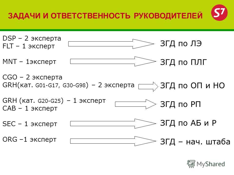 ЗАДАЧИ И ОТВЕТСТВЕННОСТЬ РУКОВОДИТЕЛЕЙ DSP – 2 эксперта FLT – 1 эксперт MNT – 1эксперт CGO – 2 эксперта GRH(кат. G01-G17, G30-G98 ) – 2 эксперта GRH (кат. G20-G25 ) – 1 эксперт CAB – 1 эксперт SEC – 1 эксперт ORG –1 эксперт ЗГД по ЛЭ ЗГД по ПЛГ ЗГД п