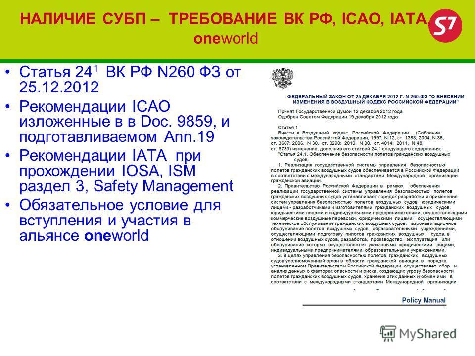 НАЛИЧИЕ СУБП – ТРЕБОВАНИЕ ВК РФ, ICAO, IATA, oneworld Статья 24 1 ВК РФ N260 ФЗ от 25.12.2012 Рекомендации ICAO изложенные в в Dос. 9859, и подготавливаемом Ann.19 Рекомендации IATA при прохождении IOSA, ISM раздел 3, Safety Management Обязательное у