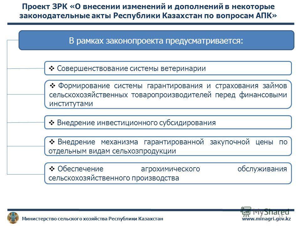 www.minagri.gov.kzМинистерство сельского хозяйства Республики Казахстан Проект ЗРК «О внесении изменений и дополнений в некоторые законодательные акты Республики Казахстан по вопросам АПК» В рамках законопроекта предусматривается: Совершенствование с