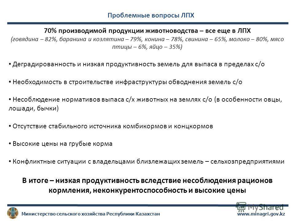 www.minagri.gov.kzМинистерство сельского хозяйства Республики Казахстан 9 Проблемные вопросы ЛПХ 70% производимой продукции животноводства – все еще в ЛПХ (говядина – 82%, баранина и козлятина – 79%, конина – 78%, свинина – 65%, молоко – 80%, мясо пт