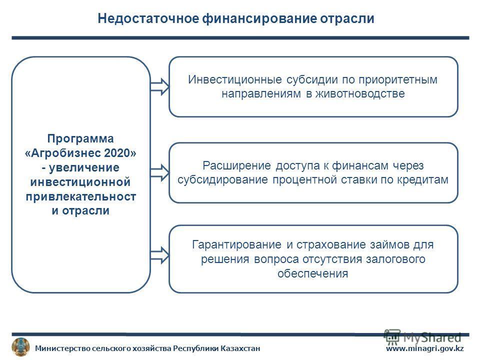 Недостаточное финансирование отрасли www.minagri.gov.kzМинистерство сельского хозяйства Республики Казахстан Программа «Агробизнес 2020» - увеличение инвестиционной привлекательност и отрасли Инвестиционные субсидии по приоритетным направлениям в жив
