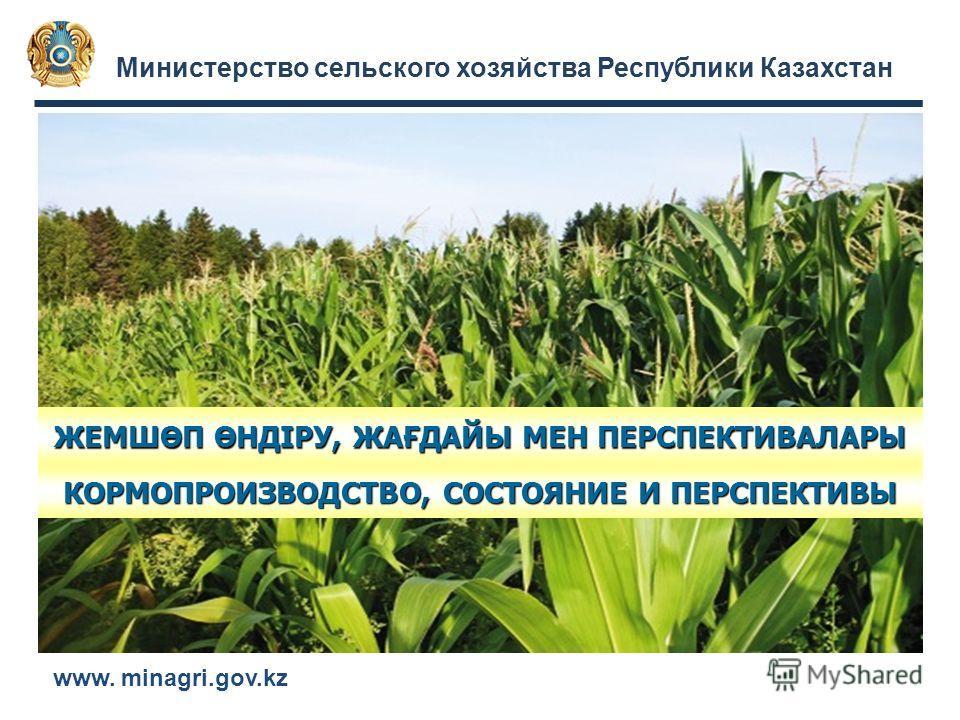 Министерство сельского хозяйства Республики Казахстан www. minagri.gov.kz ЖЕМШӨП ӨНДІРУ, ЖАҒДАЙЫ МЕН ПЕРСПЕКТИВАЛАРЫ КОРМОПРОИЗВОДСТВО, СОСТОЯНИЕ И ПЕРСПЕКТИВЫ