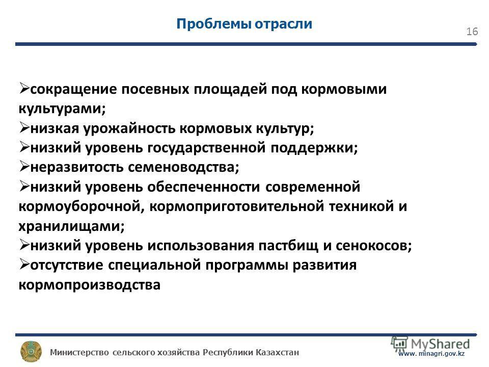 Министерство сельского хозяйства Республики Казахстан www. minagri.gov.kz 16 Проблемы отрасли сокращение посевных площадей под кормовыми культурами; низкая урожайность кормовых культур; низкий уровень государственной поддержки; неразвитость семеновод