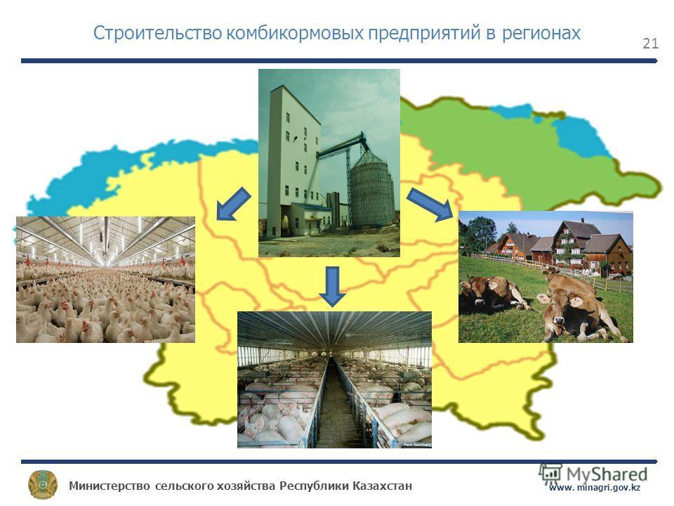 Министерство сельского хозяйства Республики Казахстан www. minagri.gov.kz 21 Строительство комбикормовых предприятий в регионах
