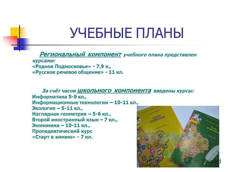 Региональный компонент учебного плана представлен курсами: «Родное Подмосковье» - 7,9 к., «Русское речевое общение» - 11 кл. За счёт часов школьного компонента введены курсы: Информатика 5-9 кл., Информационные технологии – 10-11 кл., Экология – 5-11