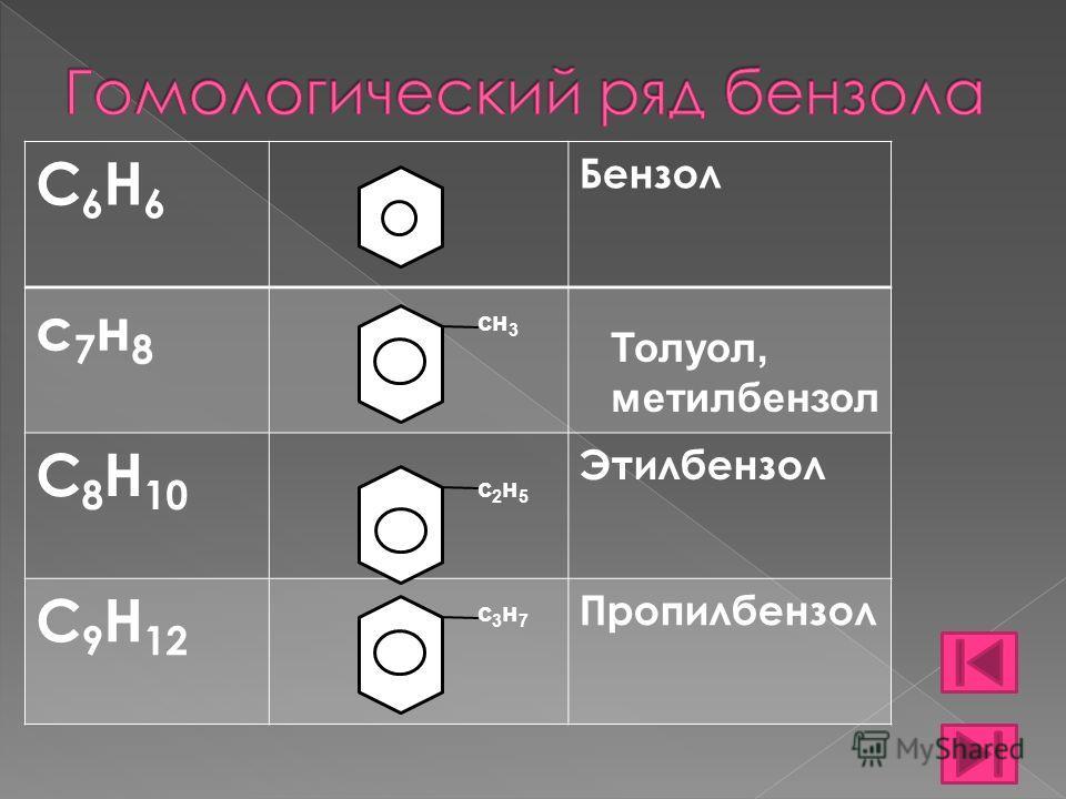 С6Н6С6Н6 Бензол с7н8с7н8 С 8 Н 10 Этилбензол С 9 Н 12 Пропилбензол Толуол, метилбензол сн 3 с2н5с2н5 с3н7с3н7