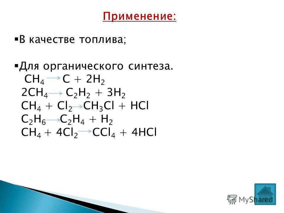 Применение: В качестве топлива; Для органического синтеза. СН 4 С + 2Н 2 2СН 4 С 2 Н 2 + 3Н 2 СН 4 + Сl 2 CH 3 Cl + HCl C 2 H 6 C 2 H 4 + H 2 CH 4 + 4Cl 2 CCl 4 + 4HCl
