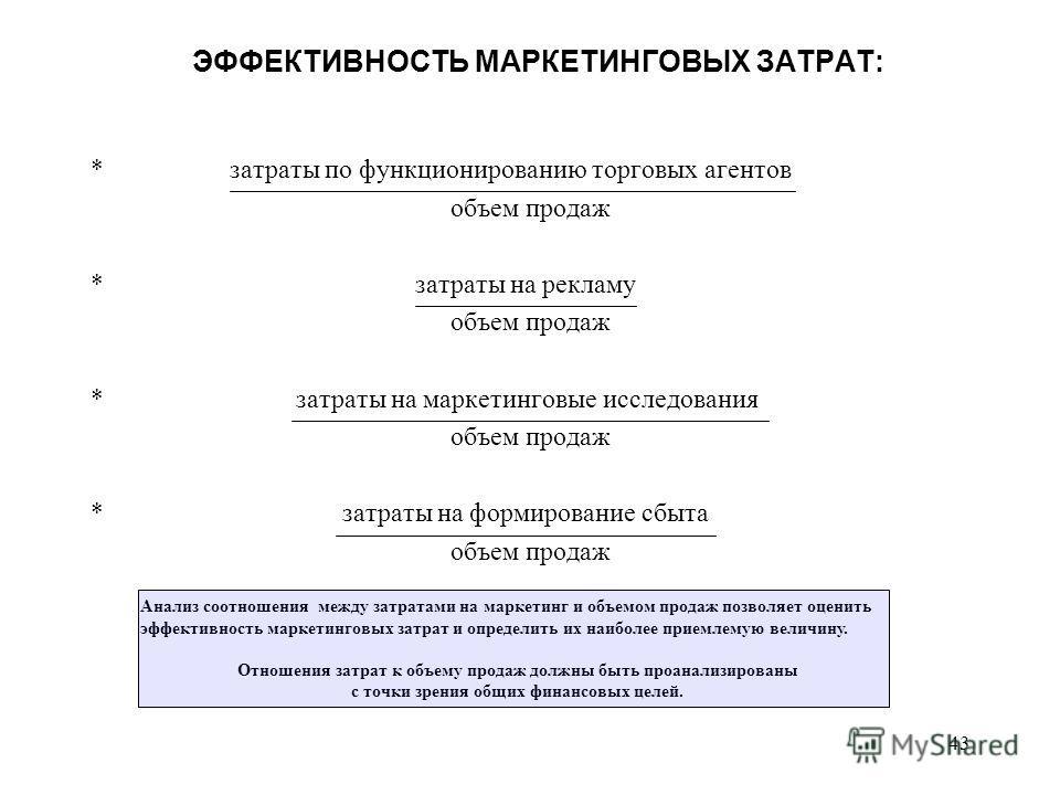43 ЭФФЕКТИВНОСТЬ МАРКЕТИНГОВЫХ ЗАТРАТ: * затраты по функционированию торговых агентов объем продаж * затраты на рекламу объем продаж * затраты на маркетинговые исследования объем продаж * затраты на формирование сбыта объем продаж Анализ соотношения