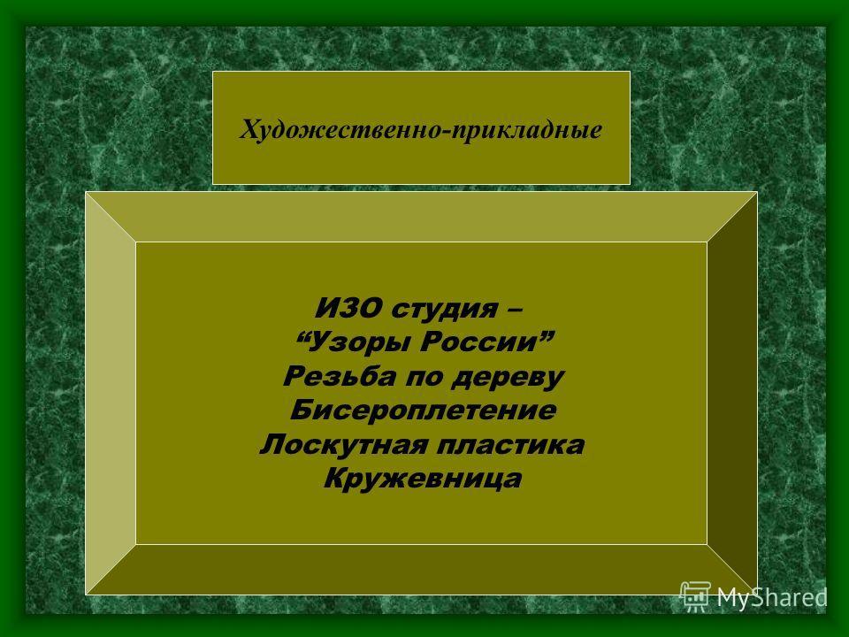 Художественно-прикладные ИЗО студия – Узоры России Резьба по дереву Бисероплетение Лоскутная пластика Кружевница