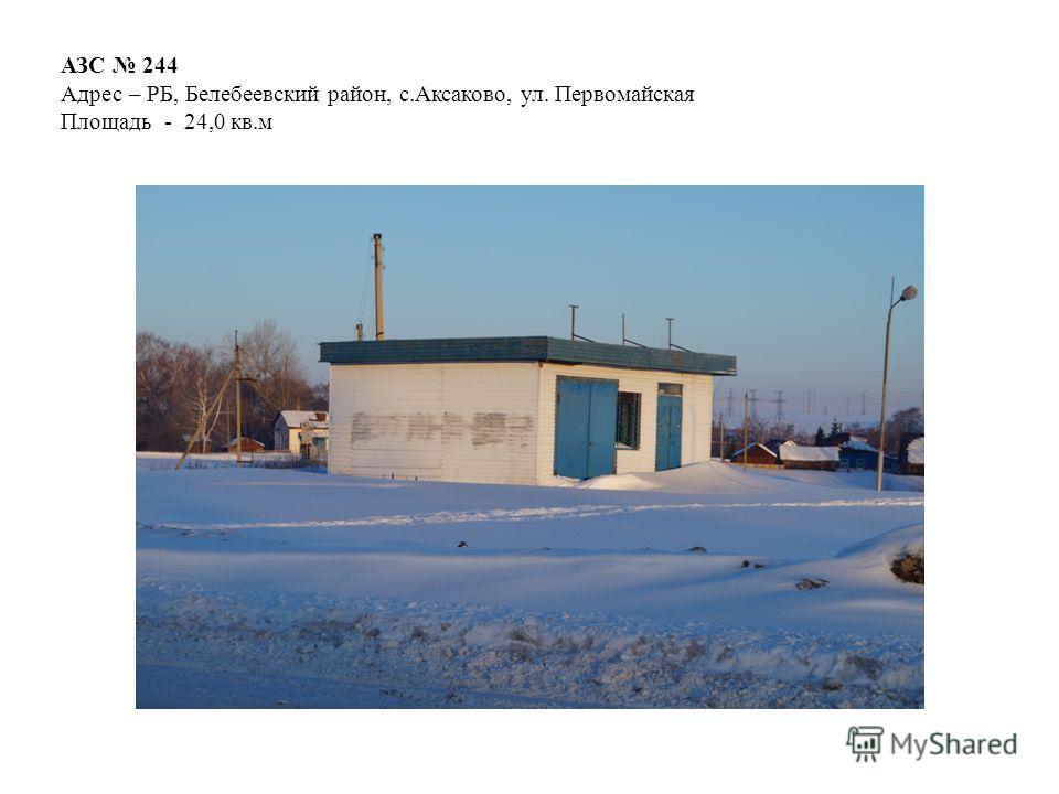 АЗС 244 Адрес – РБ, Белебеевский район, с.Аксаково, ул. Первомайская Площадь - 24,0 кв.м