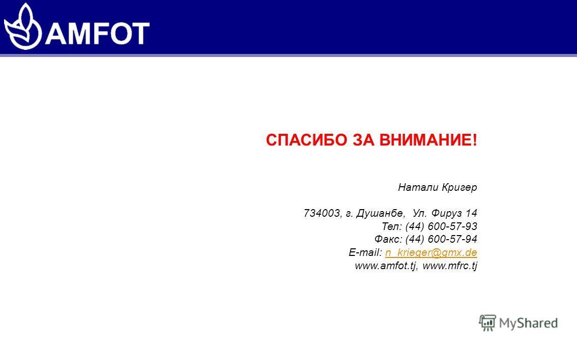 СПАСИБО ЗА ВНИМАНИЕ! Натали Кригер 734003, г. Душанбе, Ул. Фируз 14 Тел: (44) 600-57-93 Факс: (44) 600-57-94 E-mail: n_krieger@gmx.den_krieger@gmx.de www.amfot.tj, www.mfrc.tj