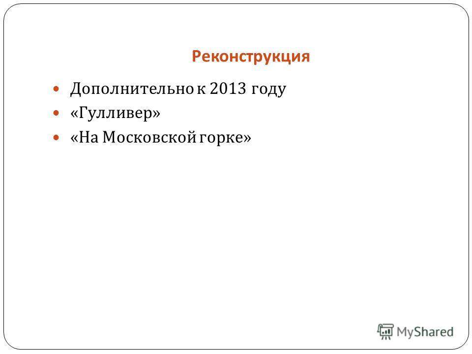 Реконструкция Дополнительно к 2013 году « Гулливер » « На Московской горке »
