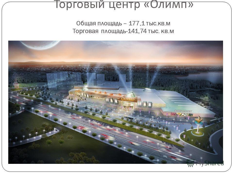 Торговый центр « Олимп » Общая площадь – 177,1 тыс.кв.м Торговая площадь-141,74 тыс. кв.м