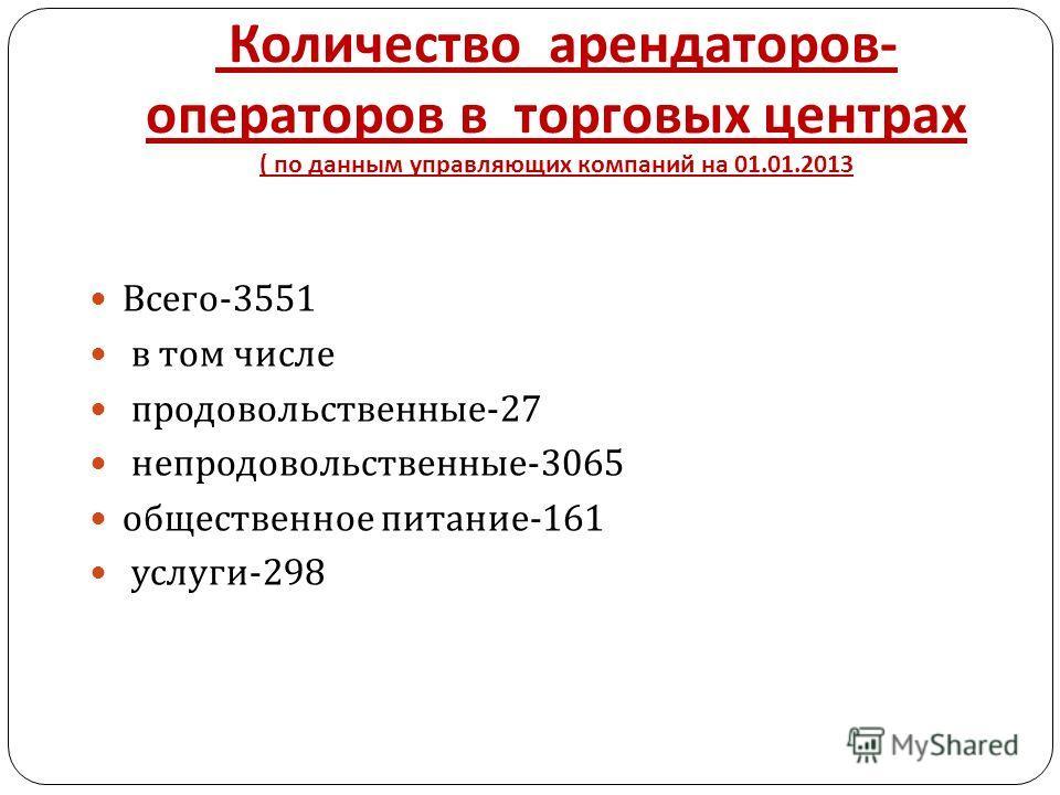 Количество арендаторов - операторов в торговых центрах ( по данным управляющих компаний на 01.01.2013 Всего -3551 в том числе продовольственные -27 непродовольственные -3065 общественное питание -161 услуги -298