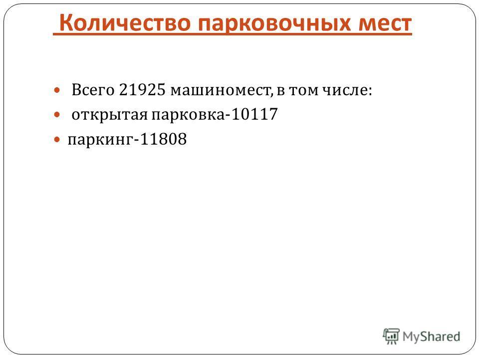 Количество парковочных мест Всего 21925 машиномест, в том числе : открытая парковка -10117 паркинг -11808