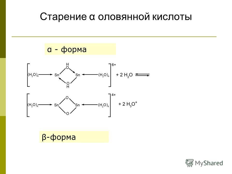 Старение α оловянной кислоты α - форма β-форма