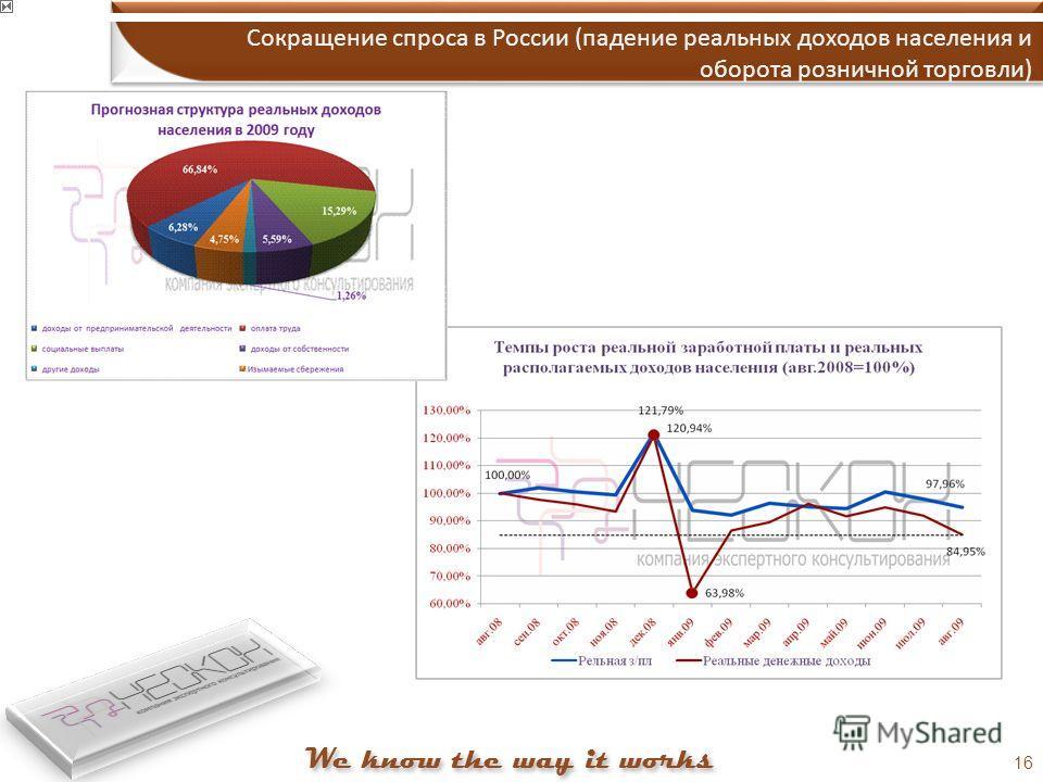 16 Сокращение спроса в России (падение реальных доходов населения и оборота розничной торговли)