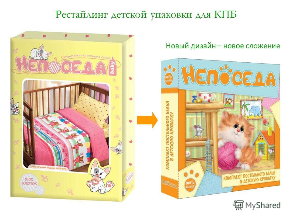 Рестайлинг детской упаковки для КПБ Новый дизайн – новое сложение