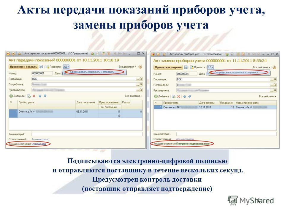 Акты передачи показаний приборов учета, замены приборов учета Подписываются электронно-цифровой подписью и отправляются поставщику в течение нескольких секунд. Предусмотрен контроль доставки (поставщик отправляет подтверждение) 1