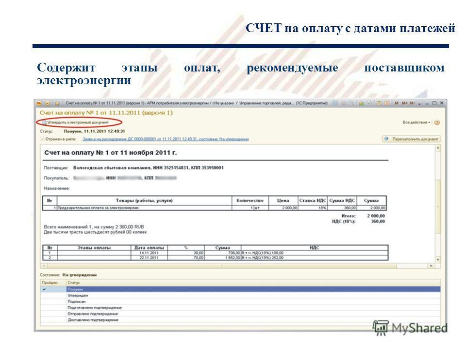СЧЕТ на оплату с датами платежей Содержит этапы оплат, рекомендуемые поставщиком электроэнергии 1
