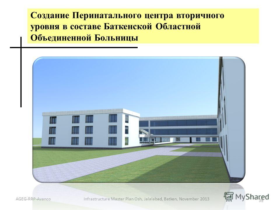 Создание Перинатального центра вторичного уровня в составе Баткенской Областной Объединенной Больницы Infrastructure Master Plan Osh, Jalalabad, Batken, November 2013 39 AGEG-RRP-Avanco