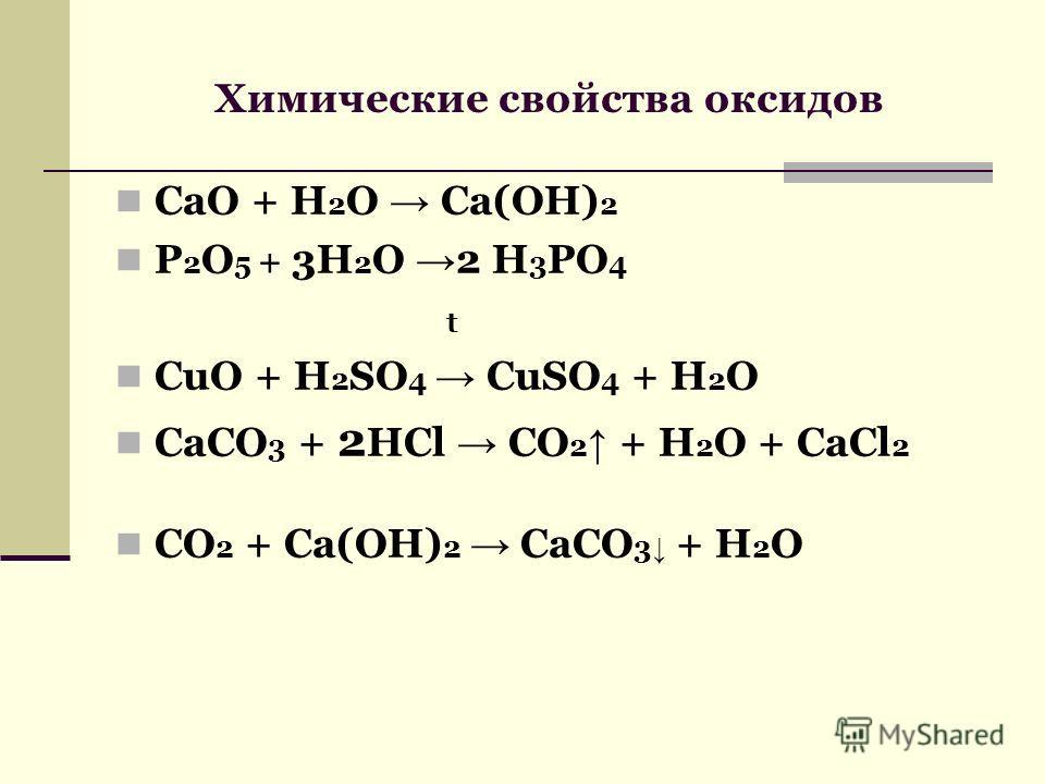 Химические свойства оксидов СaO + H 2 O Ca(OH) 2 P 2 O 5 + 3H 2 O 2 H 3 PO 4 t CuO + H 2 SO 4 CuSO 4 + H 2 O CaCO 3 + 2 HCl CO 2 + H 2 O + CaCl 2 CO 2 + Ca(OH) 2 CaCO 3 + H 2 O