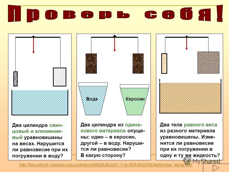 Два цилиндра свин- цовый и алюминие- вый уравновешены на весах. Нарушится ли равновесие при их погружении в воду? ВодаКеросин Два цилиндра из одина- кового материала опуще- ны: один – в керосин, другой – в воду. Наруши- тся ли равновесие? В какую сто
