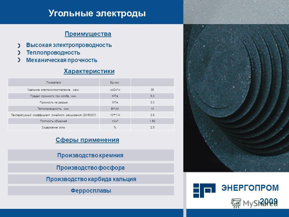 2009 Угольные электроды Сферы применения Производство кремния Производство фосфора Производство карбида кальция Преимущества Характеристики Высокая электропроводность Теплопроводность Механическая прочность Ферросплавы ПоказателиЕд.изм. Удельное элек