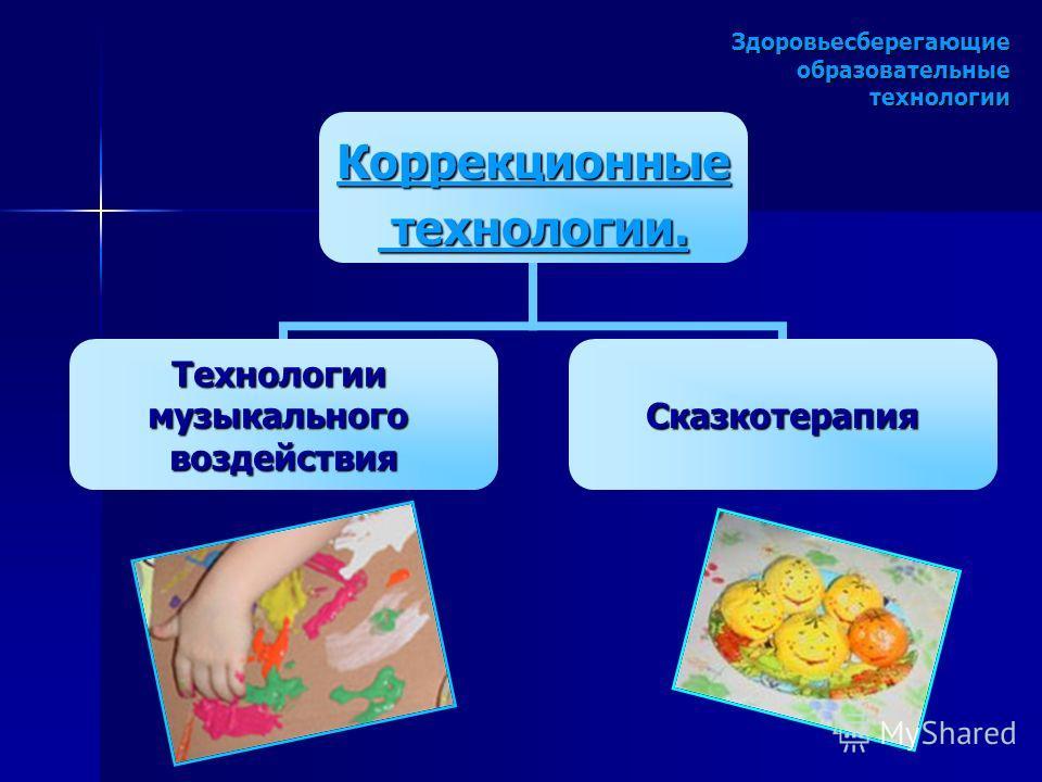 Здоровьесберегающие образовательные технологии Коррекционные технологии. технологии. ТехнологиимузыкальноговоздействияСказкотерапия