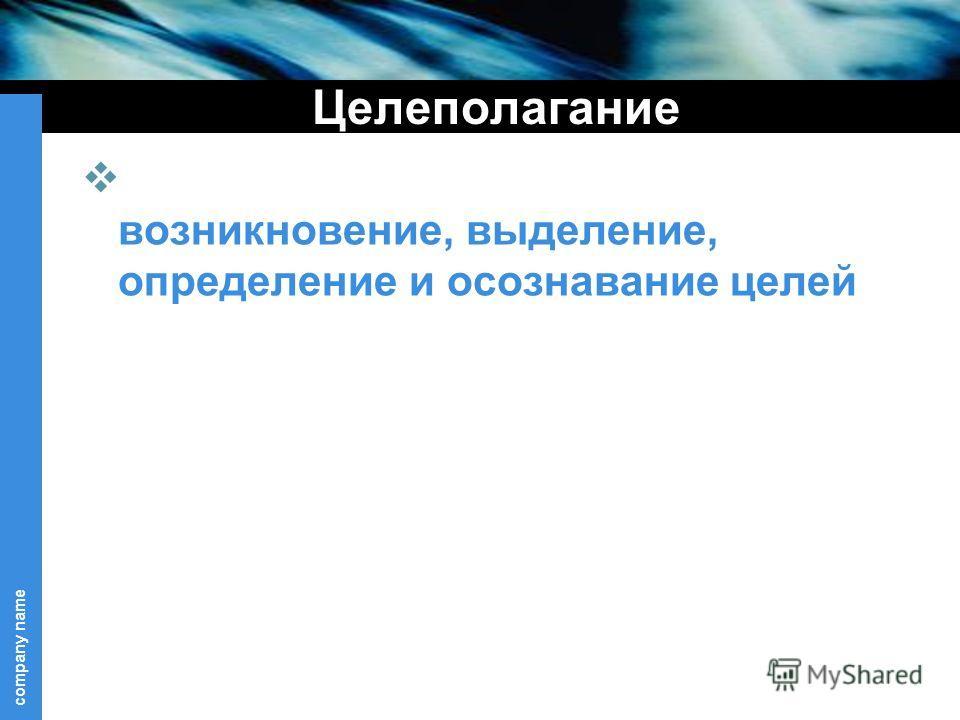 company name Целеполагание возникновение, выделение, определение и осознавание целей