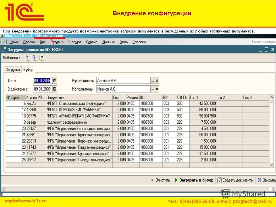 тел.: 8(495)995-29-68, e-mail: progtech@mail.ru При внедрении программного продукта возможна настройка загрузки документов в базу данных из любых табличных документов. Внедрение конфигурации