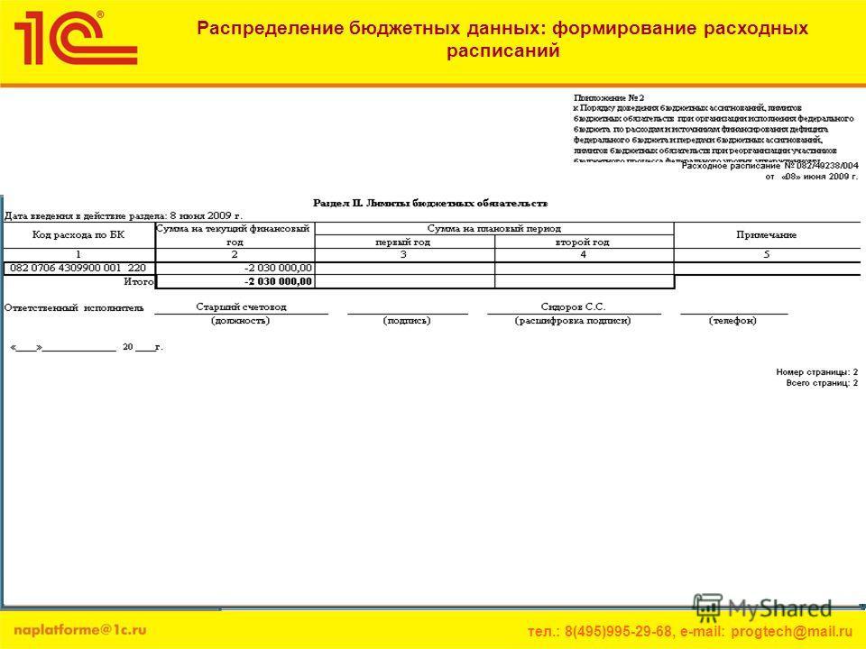 тел.: 8(495)995-29-68, e-mail: progtech@mail.ru Распределение бюджетных данных: формирование расходных расписаний Документ «Расходное расписание» предназначен для доведения бюджетных данных, распределенных главными распорядителями (распорядителями) с