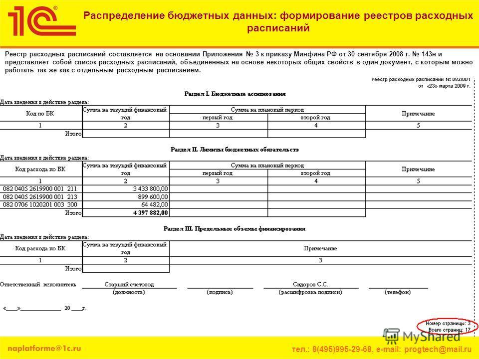 тел.: 8(495)995-29-68, e-mail: progtech@mail.ru Распределение бюджетных данных: формирование реестров расходных расписаний Реестр расходных расписаний составляется на основании Приложения 3 к приказу Минфина РФ от 30 сентября 2008 г. 143н и представл
