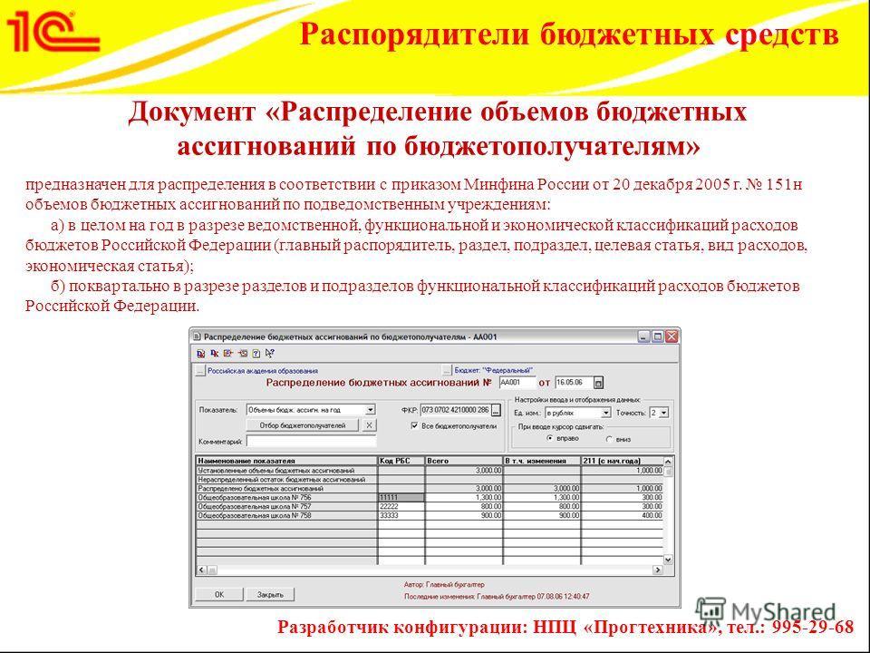 предназначен для распределения в соответствии с приказом Минфина России от 20 декабря 2005 г. 151н объемов бюджетных ассигнований по подведомственным учреждениям: а) в целом на год в разрезе ведомственной, функциональной и экономической классификаций