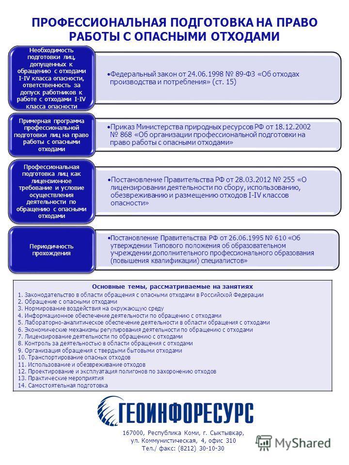Федеральный закон от 24.06.1998 89-ФЗ «Об отходах производства и потребления» (ст. 15) Необходимость подготовки лиц, допущенных к обращению с отходами I-IV класса опасности, ответственность за допуск работников к работе с отходами I-IV класса опаснос