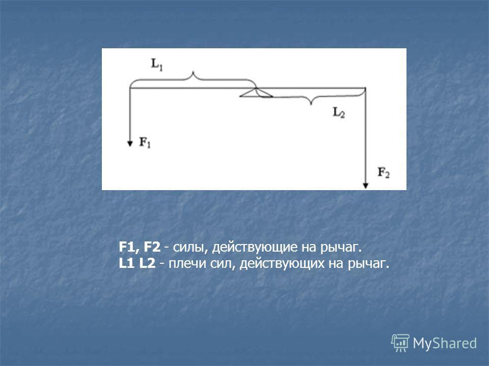 F1, F2 - силы, действующие на рычаг. L1 L2 - плечи сил, действующих на рычаг.