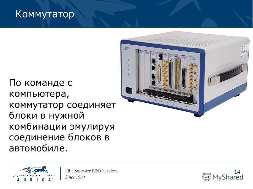 14 Коммутатор По команде с компьютера, коммутатор соединяет блоки в нужной комбинации эмулируя соединение блоков в автомобиле.