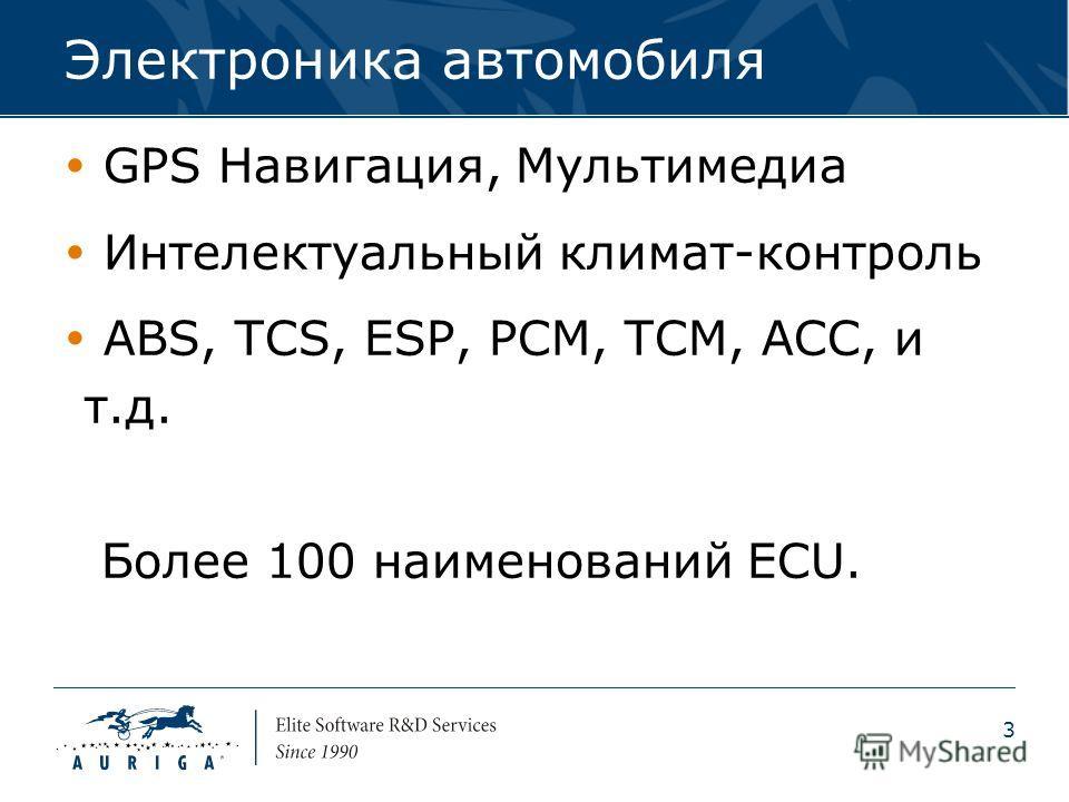 3 Электроника автомобиля GPS Навигация, Мультимедиа Интелектуальный климат-контроль ABS, TCS, ESP, PCM, TCM, ACC, и т.д. Более 100 наименований ECU.