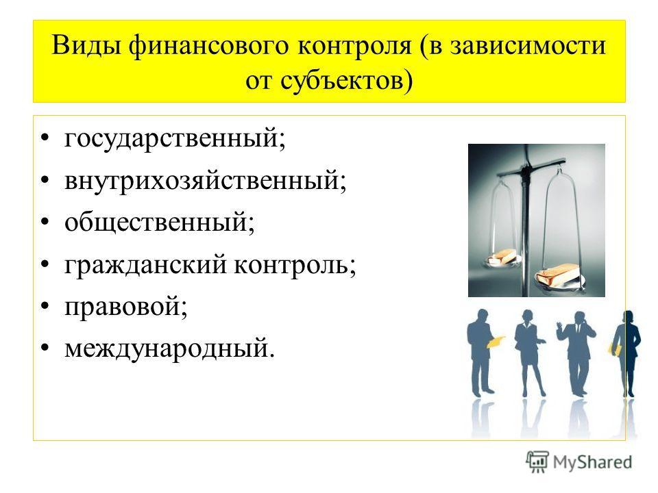 Виды финансового контроля (в зависимости от субъектов) государственный; внутрихозяйственный; общественный; гражданский контроль; правовой; международный.