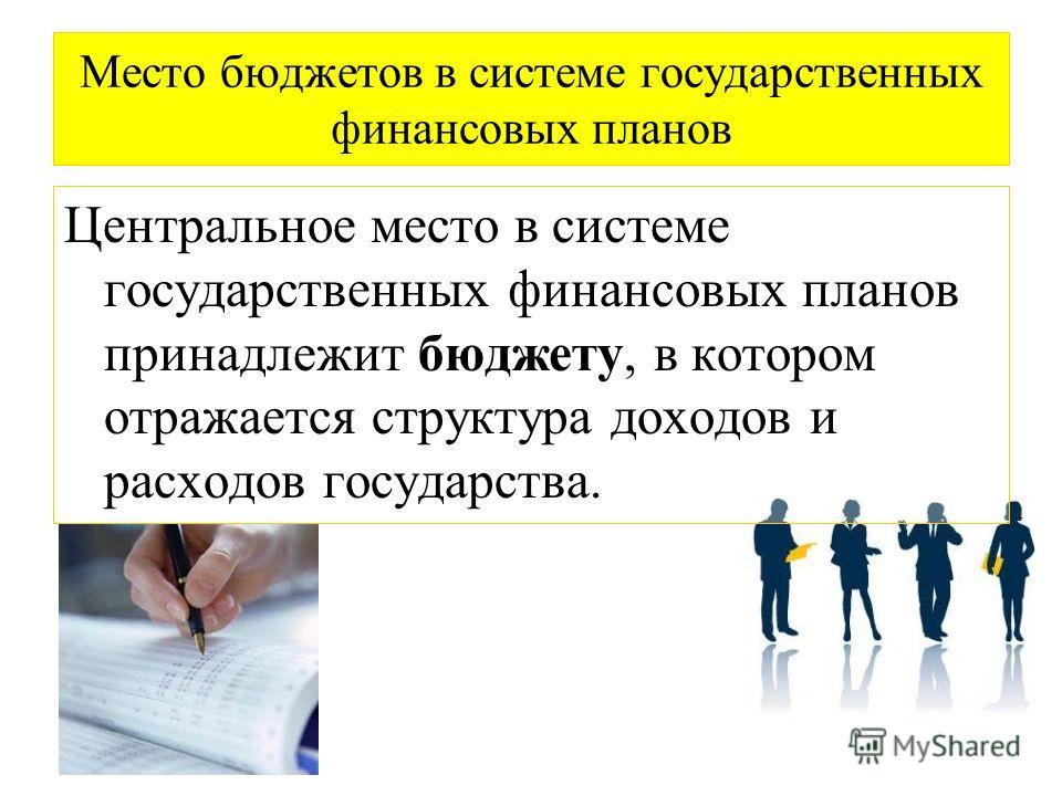 Место бюджетов в системе государственных финансовых планов Центральное место в системе государственных финансовых планов принадлежит бюджету, в котором отражается структура доходов и расходов государства.