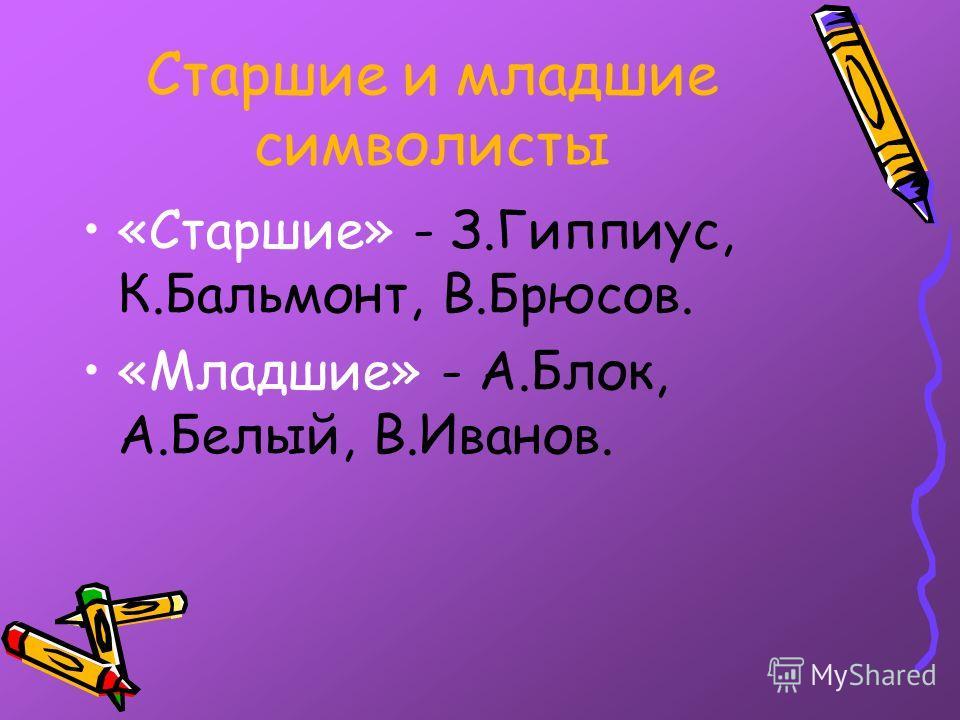 Старшие и младшие символисты «Старшие» - З.Гиппиус, К.Бальмонт, В.Брюсов. «Младшие» - А.Блок, А.Белый, В.Иванов.