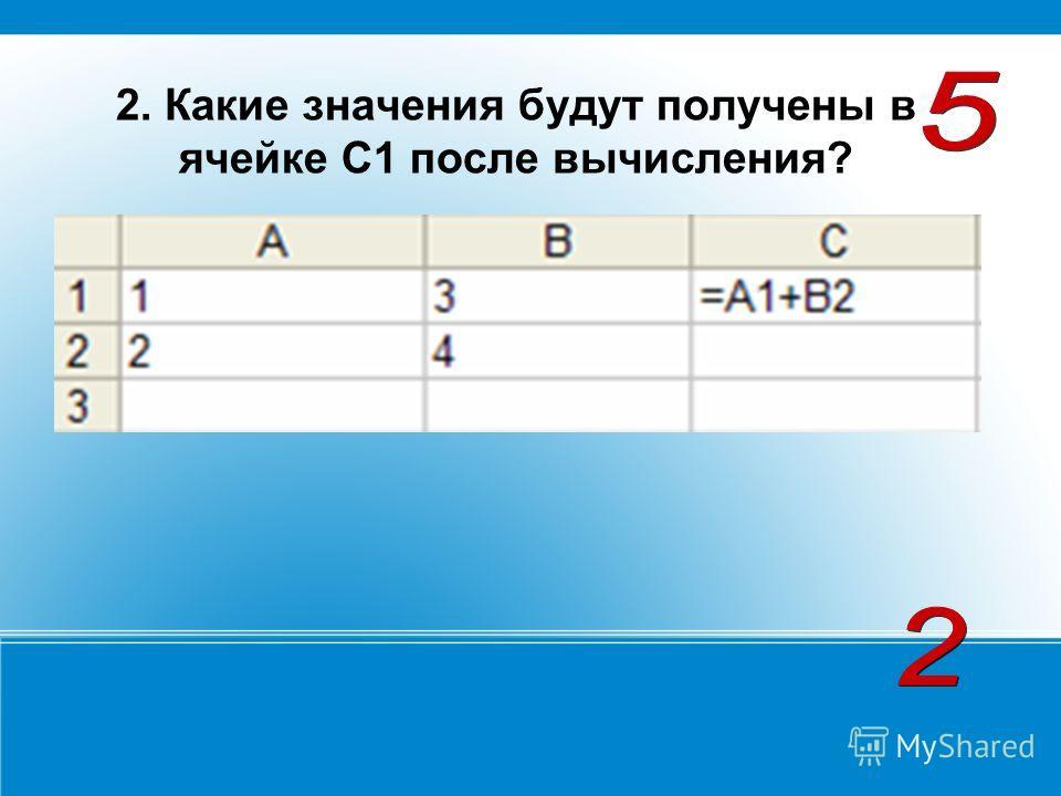 2. Какие значения будут получены в ячейке С1 после вычисления? 3. Какие значения будут получены в ячейки С2, если в неё скопировать формулу из ячейки С1?3. Какие значения будут получены в ячейки С2, если в неё скопировать формулу из ячейки С1?