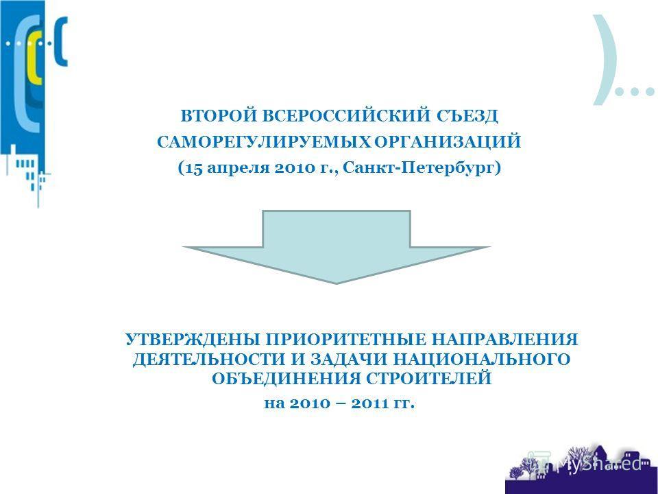 ) ВТОРОЙ ВСЕРОССИЙСКИЙ СЪЕЗД САМОРЕГУЛИРУЕМЫХ ОРГАНИЗАЦИЙ (15 апреля 2010 г., Санкт-Петербург) УТВЕРЖДЕНЫ ПРИОРИТЕТНЫЕ НАПРАВЛЕНИЯ ДЕЯТЕЛЬНОСТИ И ЗАДАЧИ НАЦИОНАЛЬНОГО ОБЪЕДИНЕНИЯ СТРОИТЕЛЕЙ на 2010 – 2011 гг.