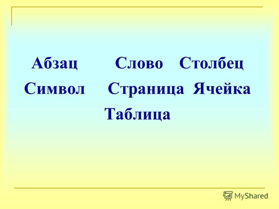 Абзац Слово Столбец Символ Страница Ячейка Таблица