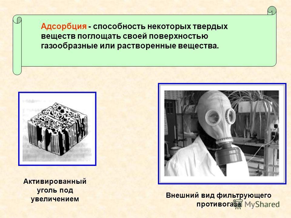 Внешний вид фильтрующего противогаза Активированный уголь под увеличением Адсорбция - способность некоторых твердых веществ поглощать своей поверхностью газообразные или растворенные вещества.
