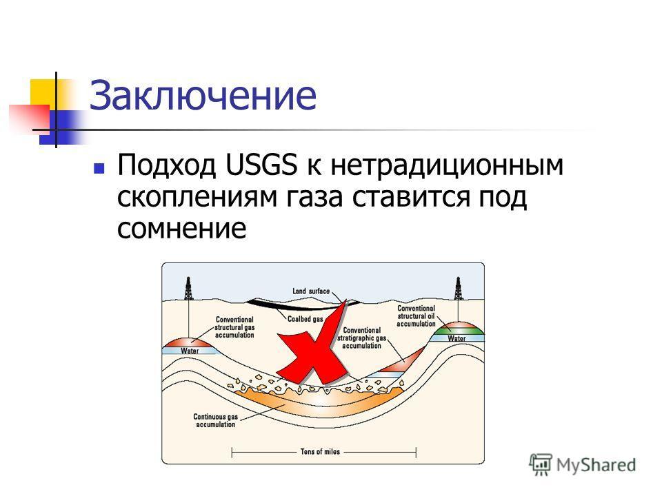 Заключение Подход USGS к нетрадиционным скоплениям газа ставится под сомнение